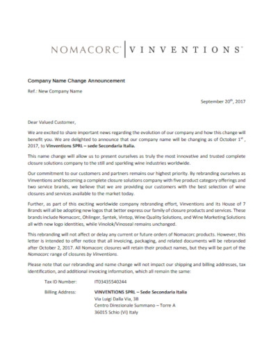 company name change letter announcement