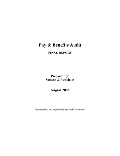 pay benefit audit report