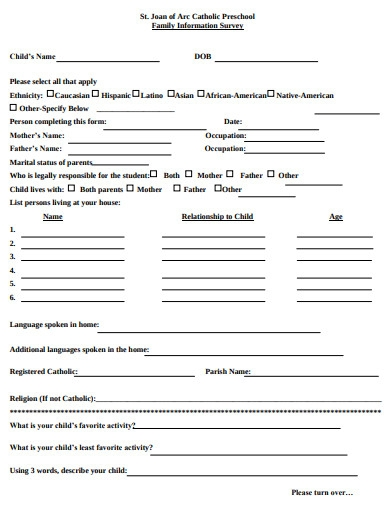 preschool family information survey