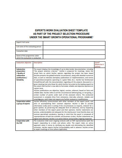 work evaluation sheet