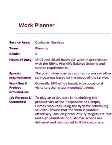 work planner in pdf