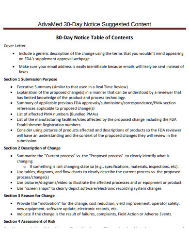 30 day notice table of content