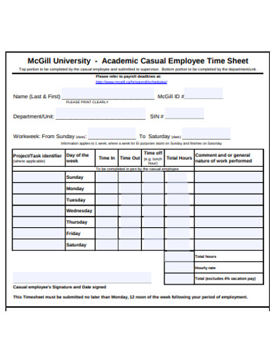 academic casual employee timesheet