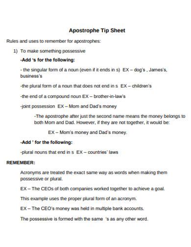 apostrophe tip sheet