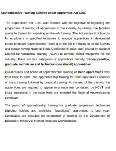 apprenticeship training inventory example
