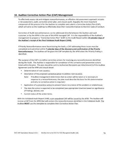 auditee corrective action plan management