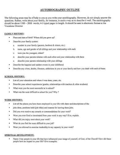 autobiography outline in pdf