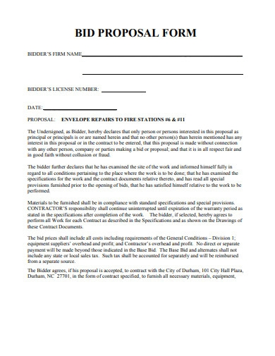 basic bid proposal form template