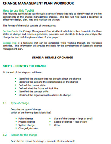 basic change management plan example