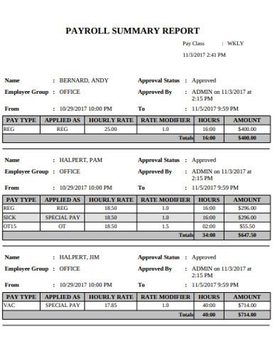 basic payroll summary report example
