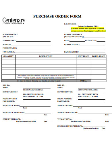 basic purchase order form example