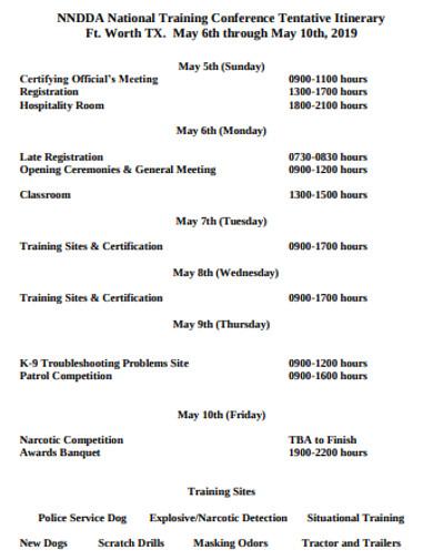 basic training itinerary example