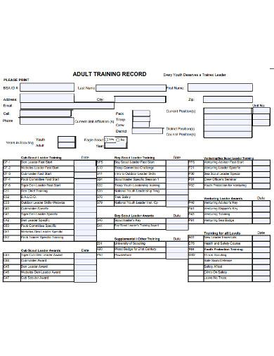 basic training record example