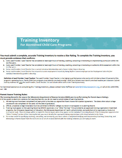 basic training inventory example
