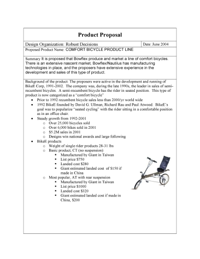 bicycle product sales proposal