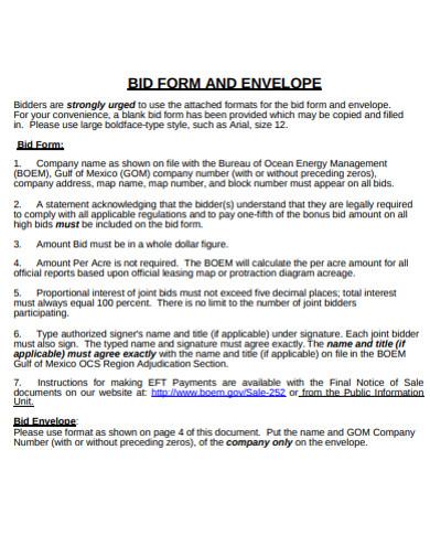 bid form and envelope