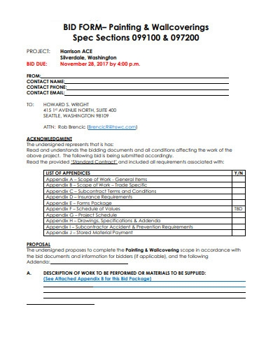 bid form for painting and wallcoverings