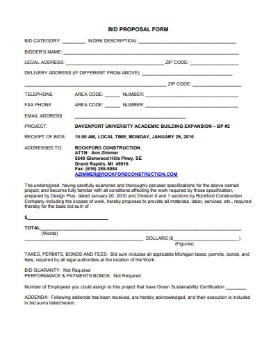 bid proposal form sample