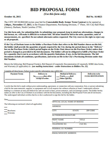 bid proposal form template
