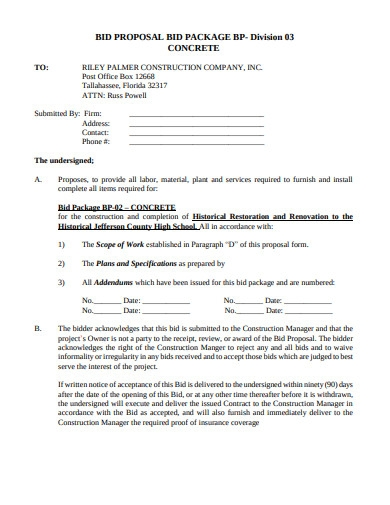 bid proposal and package form template