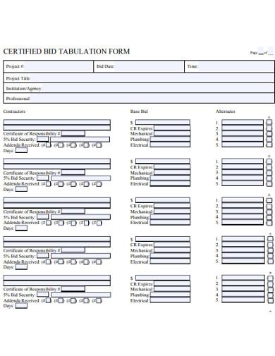 bid tabulation form
