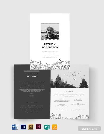 blank funeral memorial bi fold brochure template