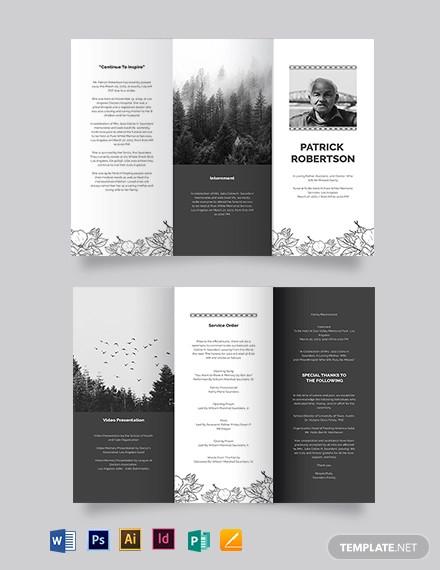 blank funeral memorial tri fold brochure template
