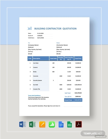 building contractor quotation template