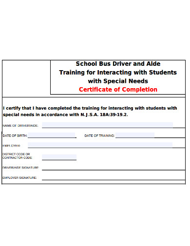 bus driver training certificate example