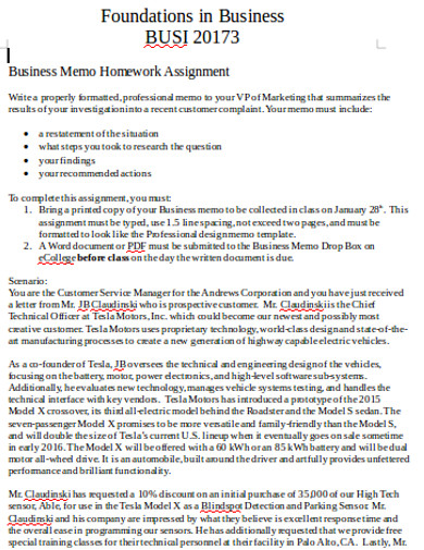 business homework assignment memo
