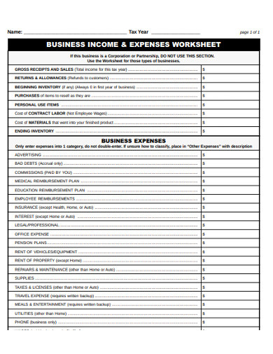 business income and expenses worksheet example