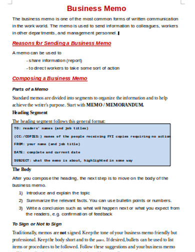 business memo example