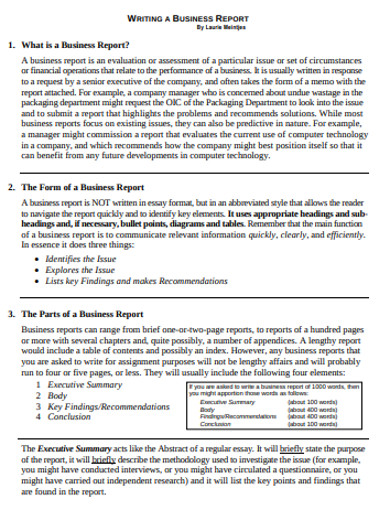 business report example