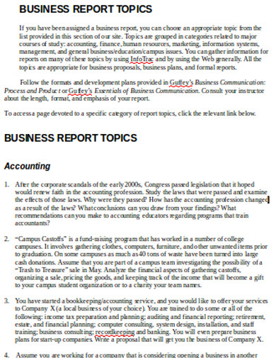business topics report