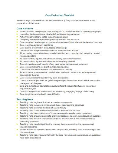 case evaluation checklist example