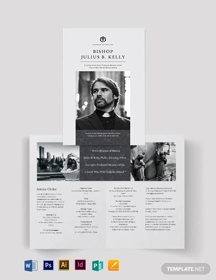 church funeral memorial bi fold brochure template