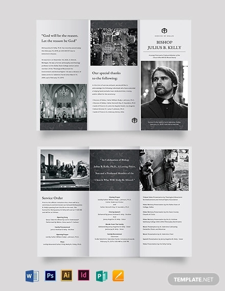 church funeral memorial tri fold brochure template