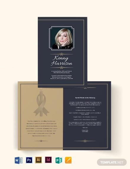 classic funeral memorial bi fold brochure template