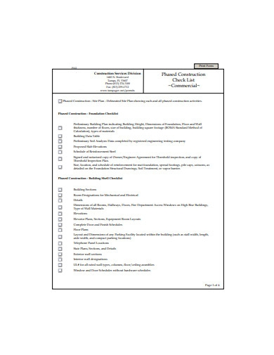 commercial construction checklist example