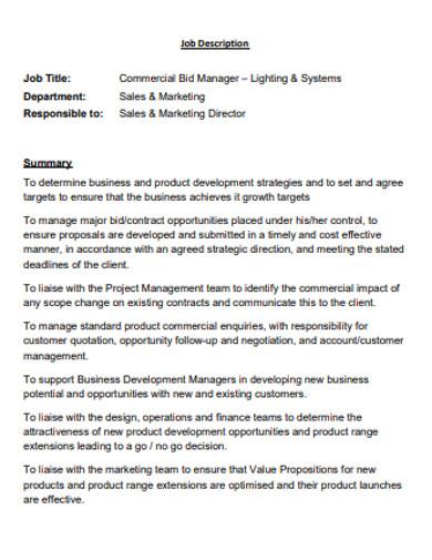 commercial job bid manager