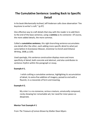 comprehensible cumulative sentence guide