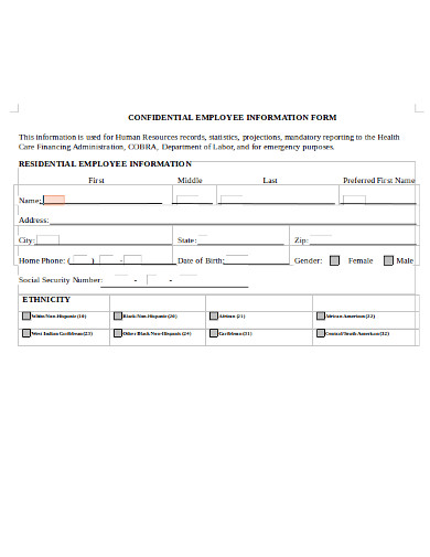 confidential employee information form