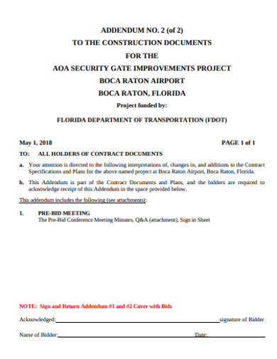 construction addendum example