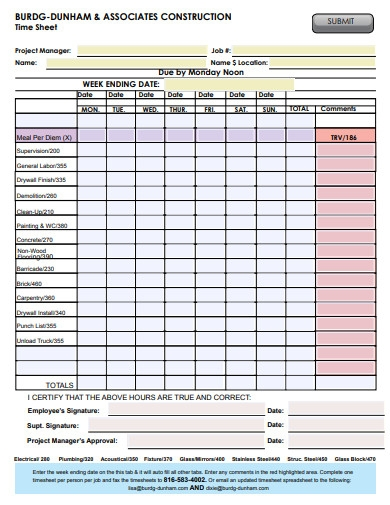 construction associate timesheet