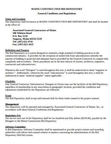 construction bid depository