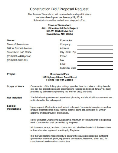 construction bid proposal request template