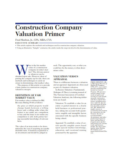 construction company valuation