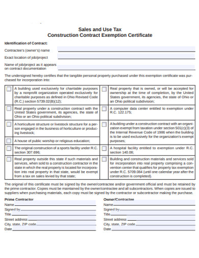 construction contract exemption certificate