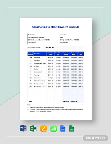 construction contract payment schedule template