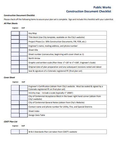 construction document checklist example